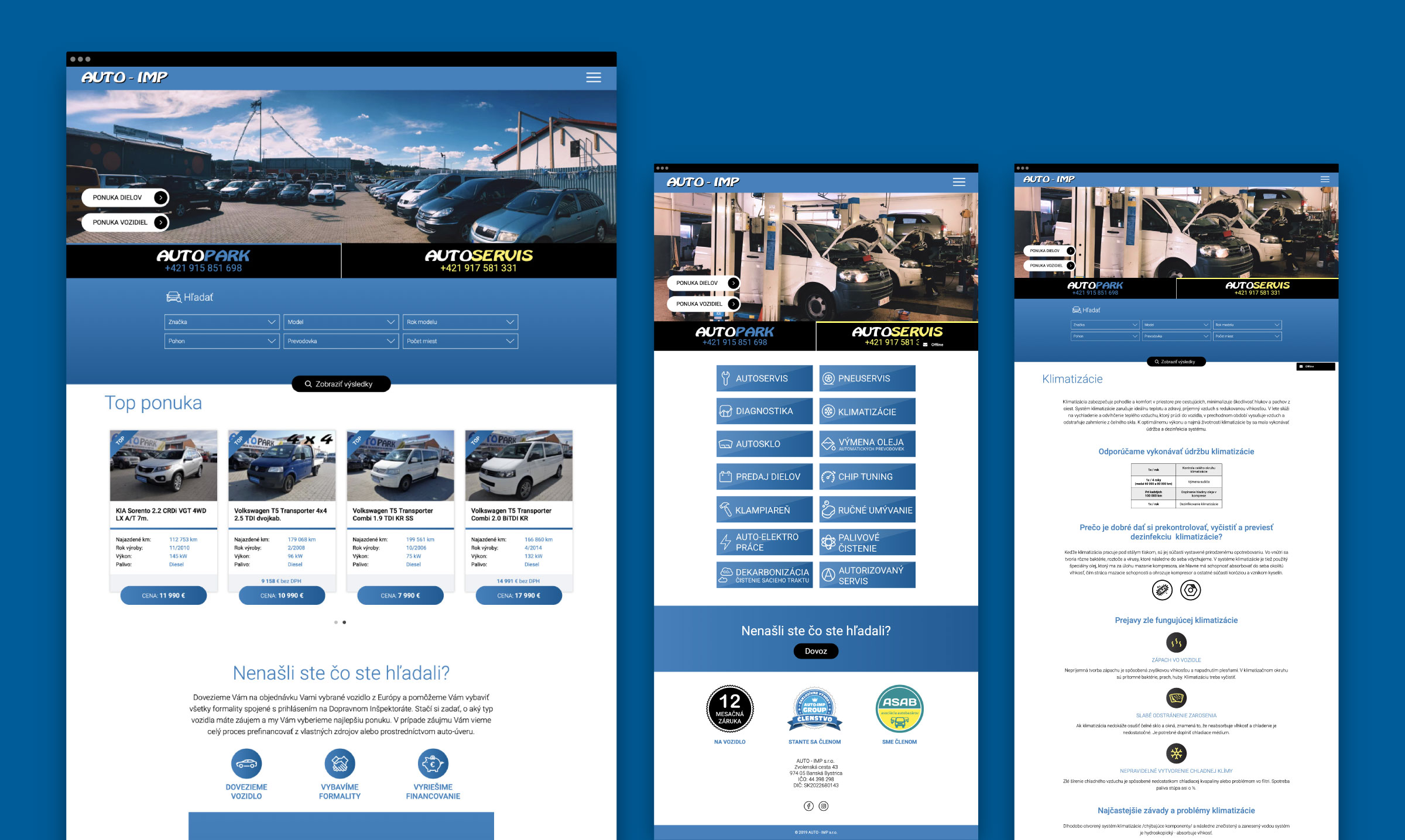 AUTO-IMP webstránka